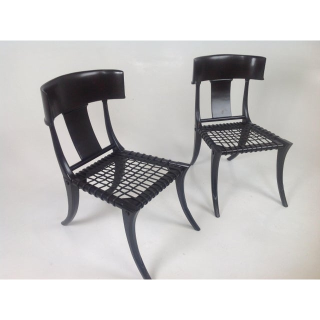 2010s Klismos Style Dining Chairs in Expresso Finish- Pair For Sale - Image 5 of 7