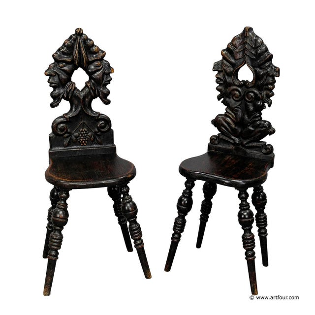 Oak A Pair Renaissance Style Carved Chairs Ca. 1890 For Sale - Image 7 of 7