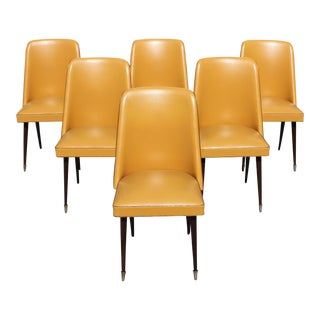Vintage French Art Deco Solid Mahogany Gondola Dining Chairs - Set of 6 For Sale