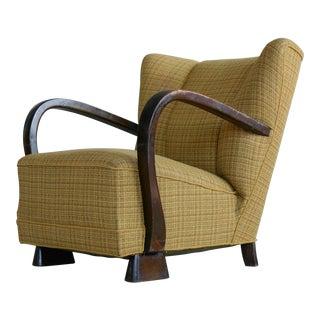 Danish Art Deco Lounge Chair in the Style of Viggo Boesen, 1940s