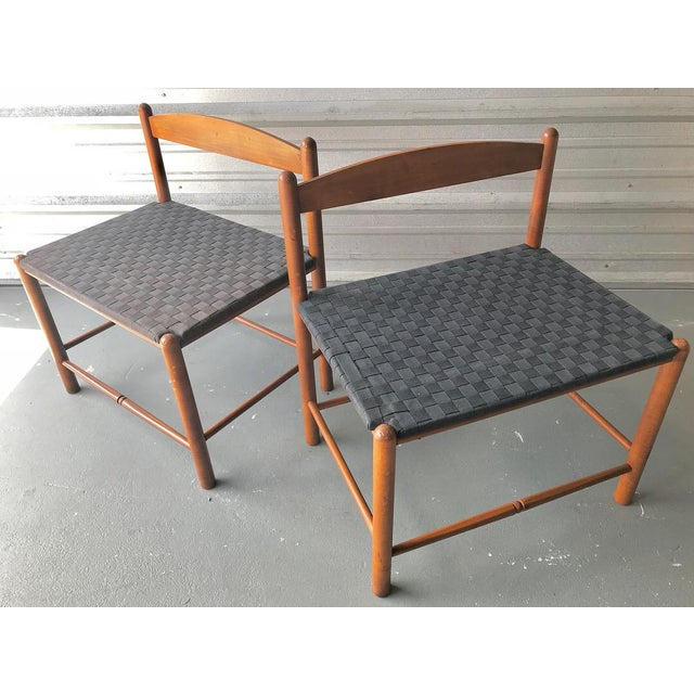 Fabric Danish Style Modern Woven Benches - a Pair For Sale - Image 7 of 7