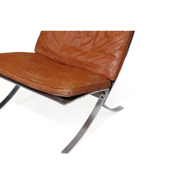 Steen Østergaard Steen Ostergaard Steel and Leather Lounge Chair & Foot Stool For Sale - Image 4 of 13