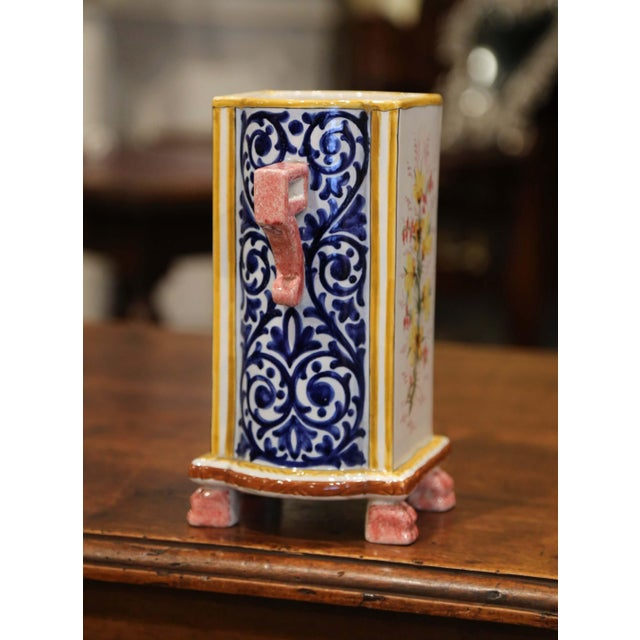 Empire Early 20th Century French Hand-painted Faience Vase Signed Hb Quimper For Sale - Image 3 of 9