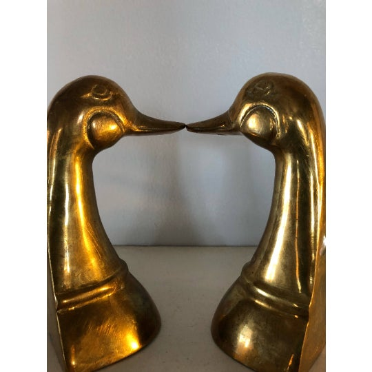American Brass Duck Bookends - a Pair For Sale - Image 3 of 6