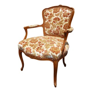 Vintage French Provincial Rococo Orange & White Accent Armchair For Sale