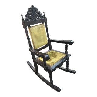 Carved Wood Velvet Rocking Chair For Sale
