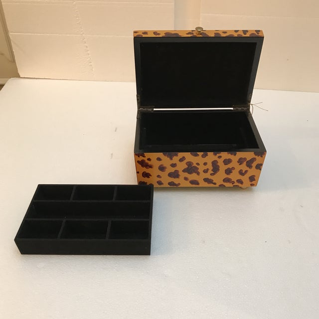 Brass Decorative Animal Print Wooden Box For Sale - Image 7 of 9