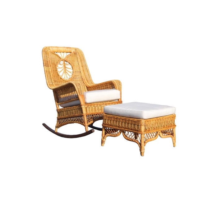 A nice Ralph Lauren wicker rattan rocking chair, great for a beach cottage Mediterranean home or English country shabby...
