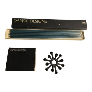 Dansk Iron Modern Spider Candle Holder and Candles