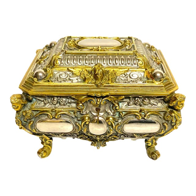 Silvered Bronze and Ormolu Jewelry/Table Box For Sale