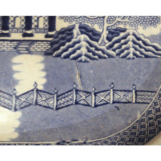 Antique Staffordshire Blue Willow Platter Large Server Platter For Sale - Image 9 of 11