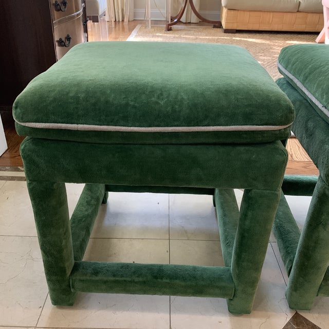 John Mascheroni for Swaim Emerald Green Velvet Parsons Stools - a Pair For Sale - Image 9 of 10