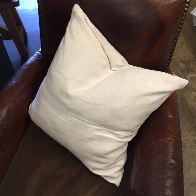 Vintage Linen Pillow Cover With Copper Zipper - Image 2 of 6