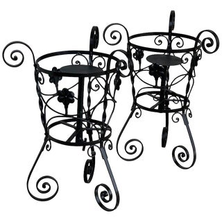 20th Century Set of Two Black Wrought Iron Painted Adjustable Plant Stands For Sale