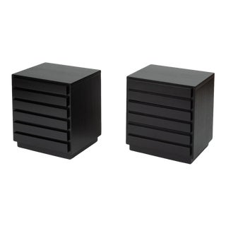 Pair of Ebonized Three-Drawer Nightstands by American of Martinsville For Sale