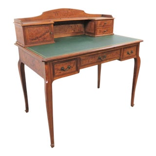 French Leather Top Walnut Writing Desk For Sale
