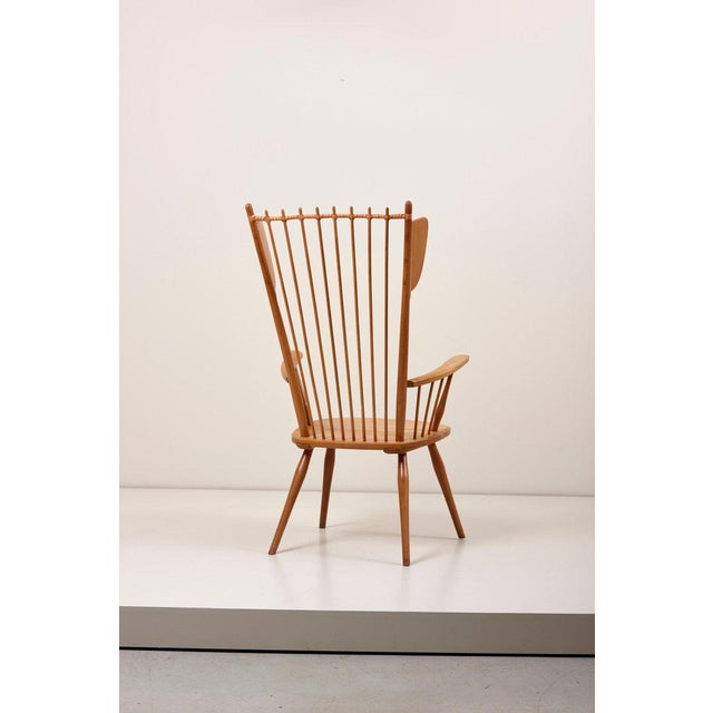 Albert Haberer Wingback Armchair in Solid Wood, Germany, 1950 For Sale - Image 6 of 13