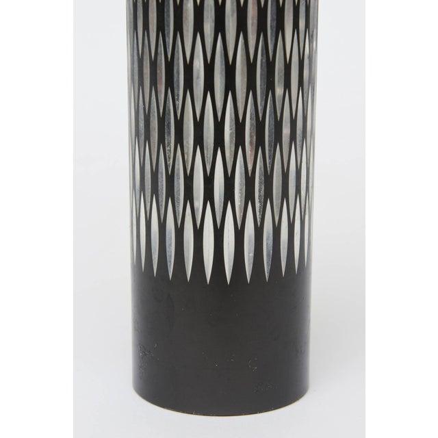 Black Graphic Diamond Patterned Vase For Sale - Image 8 of 8