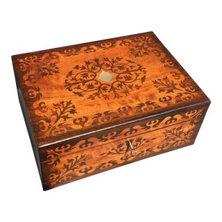 Antique Rosewood Tunbridge Jewelry Box For Sale