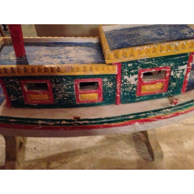 Decorative Vintage Children's Wood Boat with Stand - Image 4 of 11