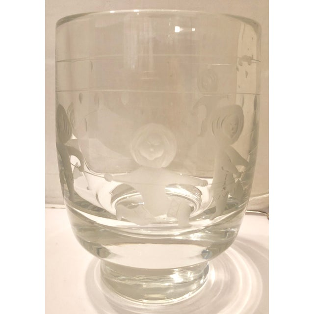 Glass Holmegaard Crystal Vase With Eskimos For Sale - Image 7 of 7