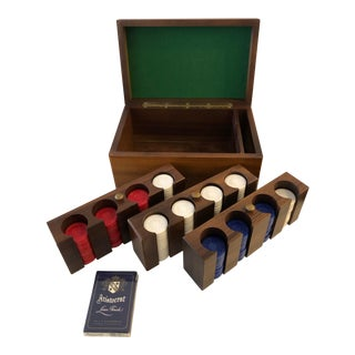 Vintage Poker Set With Wood Box For Sale
