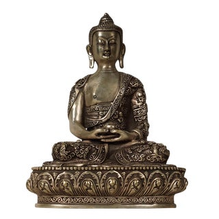 Early 20th Century Vintage Tibetan Silver Buddha Statuary For Sale