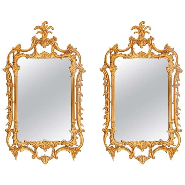 Pair of Louis XV Style Gilt Wall Console or Pier Mirrors With Beveled Glass For Sale - Image 12 of 12
