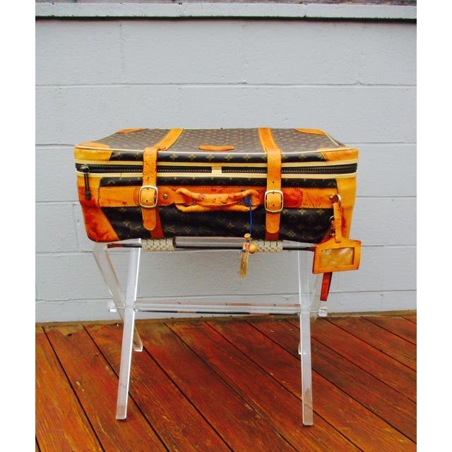 Mid-Century Modern Lucite Folding Luggage Rack For Sale - Image 5 of 9