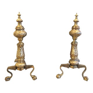 Mid Century Brass Andirons - a Pair For Sale