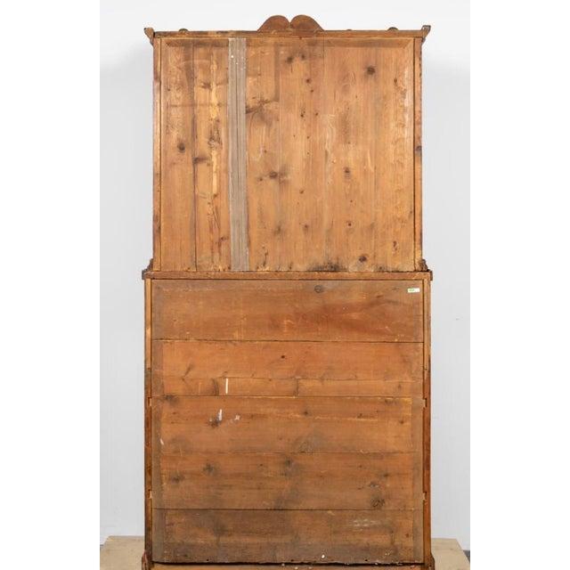 Biedermeier 19th Century Biedermeier Continental Faux Bois Painted Pine Cylinder Secretary Bookcase For Sale - Image 3 of 12