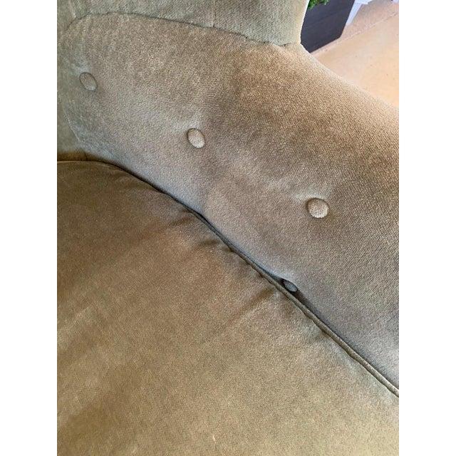 Vintage Tufted Sage Green Velvet Barrel Back Wing Chair For Sale In Philadelphia - Image 6 of 12