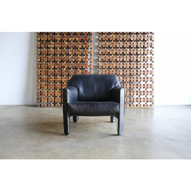Late 20th Century Mid-Century Modern Mario Bellini Black Leather Lounge Chairs - a Pair For Sale - Image 5 of 11