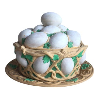 Caneware Egg Basket Tureen Wilhelm Schiller and Sons Circa 1880 For Sale