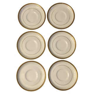 Ivory Ceramic Gold Rimmed Coasters - Set of 6 For Sale