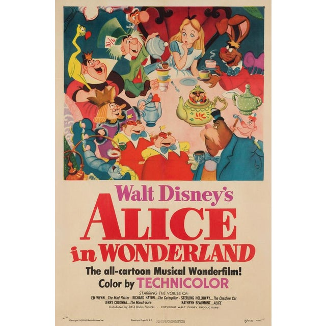 Very rare and special country-of-origin first-year-of-release US poster for Disney's classic rabbit hole romp Alice in...