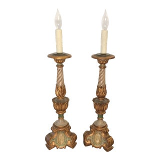 Pair of Vintage Venetian Italian Candlestick Lamps For Sale