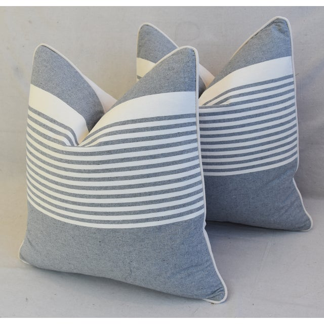 """Bone French Gray & White Nautical Striped Feather/Down Pillows 22"""" Square - Pair For Sale - Image 7 of 12"""