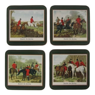 Vintage English Hunting Coasters - 4 Pieces