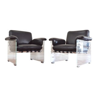 Pair of Lucite and Chrome Lounge Chairs Pace Argenta