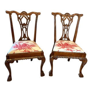 Chinese Chippendale Dining Chairs With Schumacher Seats - Set of 2 For Sale