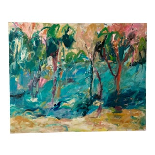 "1980s Large Abstract Landscape ""Stream View"" by Ellen Reinkraut For Sale"