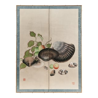 "Lawrence & Scott Chinoiserie ""Clams & Fruit"" Silk Hanging Two-Panel Screen For Sale"