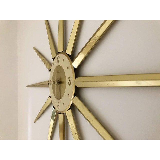 1950s Large Roxhall Brass Spike Sunburst Clock, Circa 1960 For Sale - Image 5 of 6