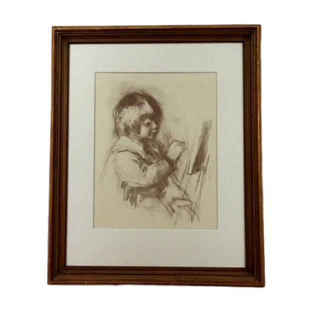 "Figurative 1960's Impressionist Print, ""Small Painter"" by Renoir For Sale - Image 3 of 3"