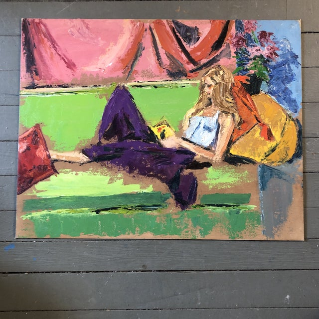 Purple Vintage Original Abstract Female Reading in Interior Painting 1970's For Sale - Image 8 of 8