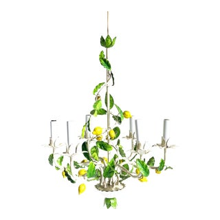 Italian Tole Lemon Chandelier in Green, White & Yellow - Vintage