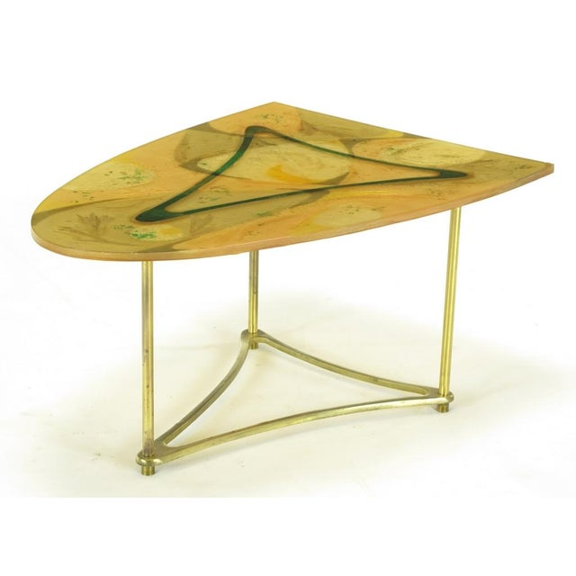 Demi-Ellipse Abstract Cast Resin & Brass Cocktail Table For Sale In Chicago - Image 6 of 8