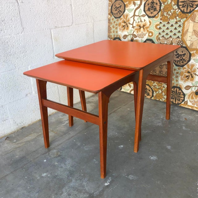 Vintage Mid-Century Danish Modern Nesting Tables (Set of Two) For Sale - Image 13 of 13