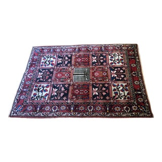 1930s Antique Hand-Knotted Bakhtiari Garden Panel Rug- 4′10″ × 6′10″ For Sale